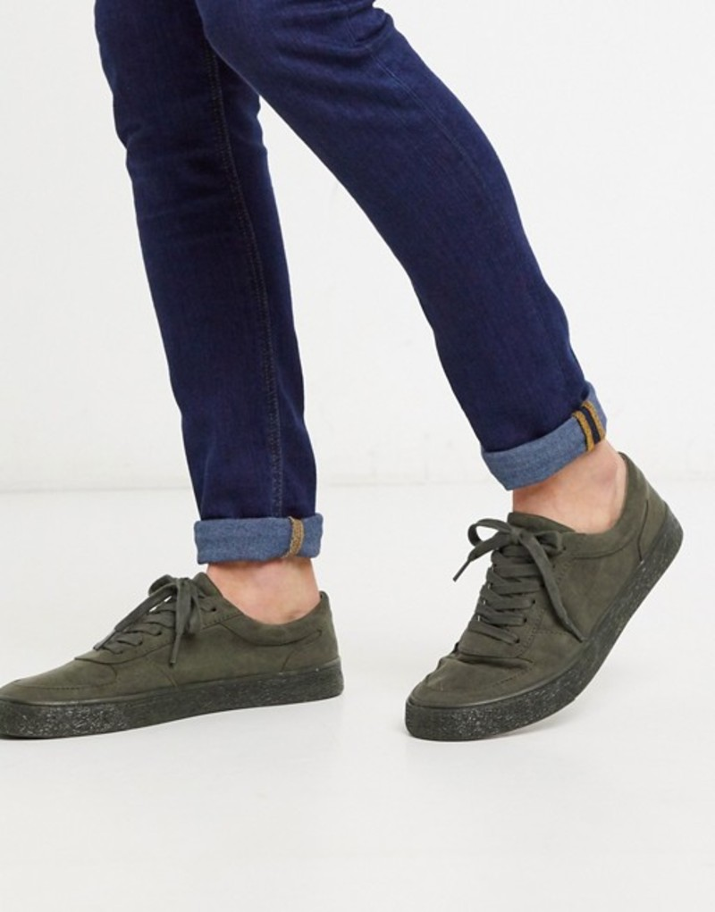エイソス メンズ スニーカー シューズ ASOS DESIGN sneakers in khaki faux suede Khaki