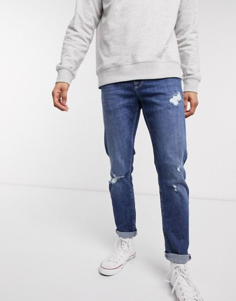 エイソス メンズ デニムパンツ ボトムス ASOS DESIGN stretch slim jeans in dark wash blue with abrasions Dark wash blue
