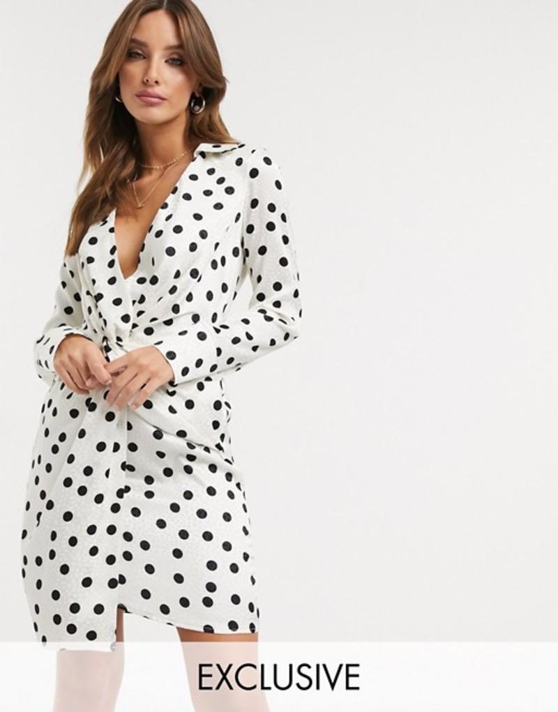 フラウンスロンドン レディース ワンピース トップス Flounce London relaxed drape satin mini dress in polka dot White/black