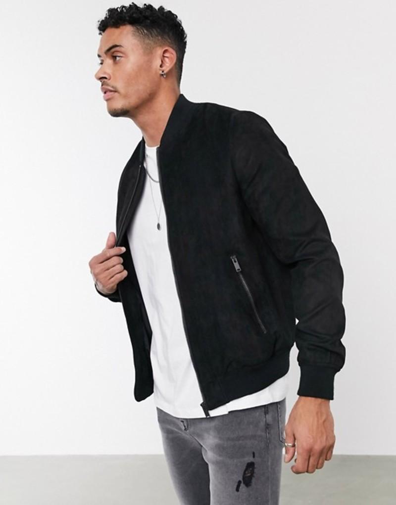 ベルシュカ メンズ ジャケット・ブルゾン アウター Bershka faux suede bomber jacket in black Black
