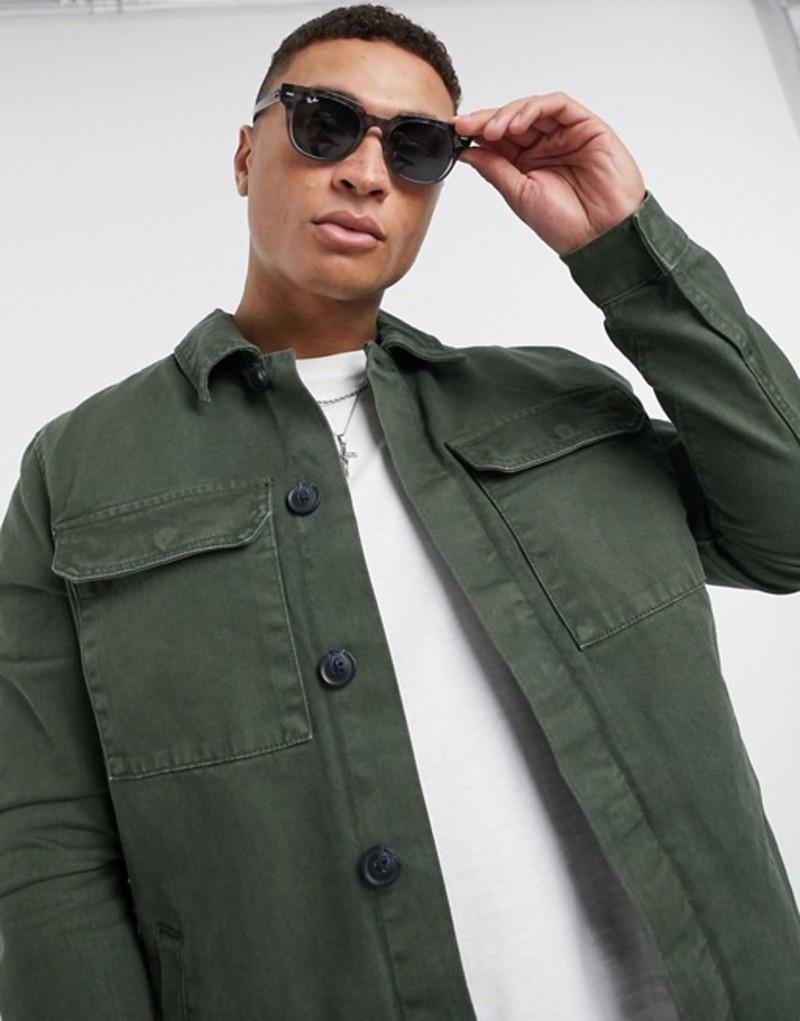ニュールック メンズ ジャケット・ブルゾン アウター New Look utility jacket in dark khaki Dark khaki