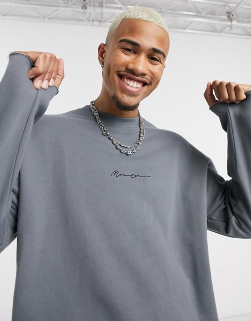 メニス メンズ シャツ トップス Mennace drop shoulder sweatshirt with raw hem in gray Gray