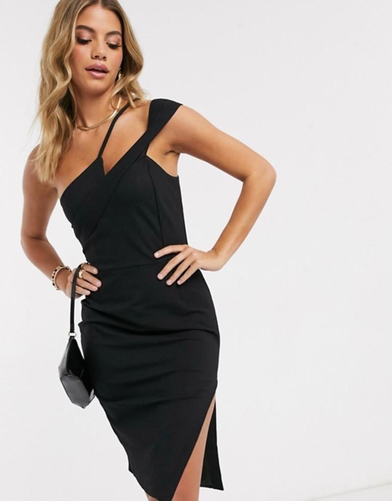 ラビッシュアリス レディース ワンピース トップス Lavish Alice strappy off shoulder midi dress in black Black