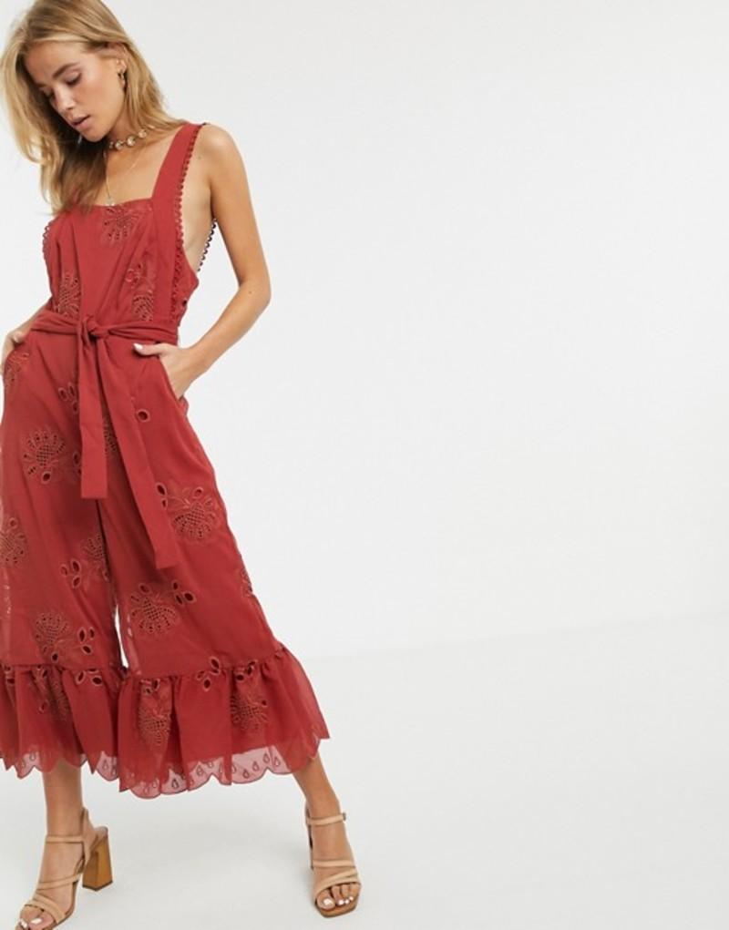 スティービーメイ レディース ワンピース トップス Stevie May Gracia ruffle hem jumpsuit Western red