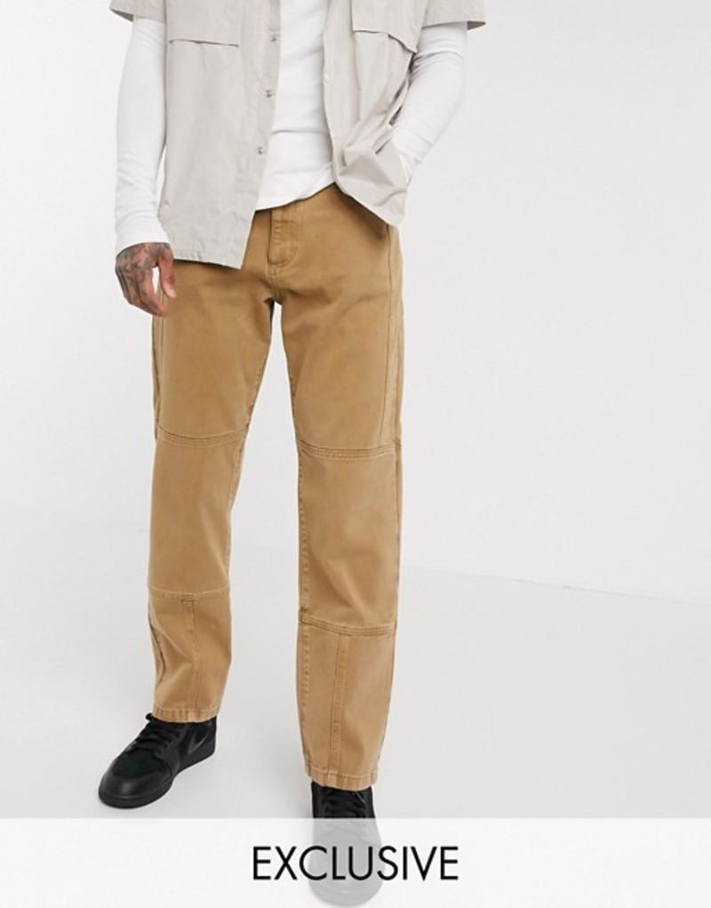 コルージョン メンズ デニムパンツ ボトムス COLLUSION seam detail straight leg jeans in camel Camel