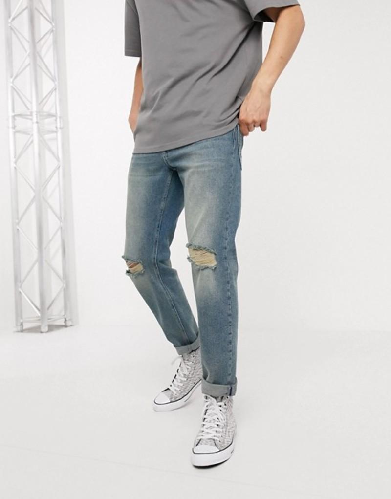 エイソス メンズ デニムパンツ ボトムス ASOS DESIGN stretch tapered jeans in vintage blue wash with knee rips Mid wash blue