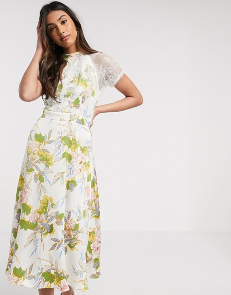 リクオリッシュ レディース ワンピース トップス Liquorish a line lace detail midi dress in white floral print Cream