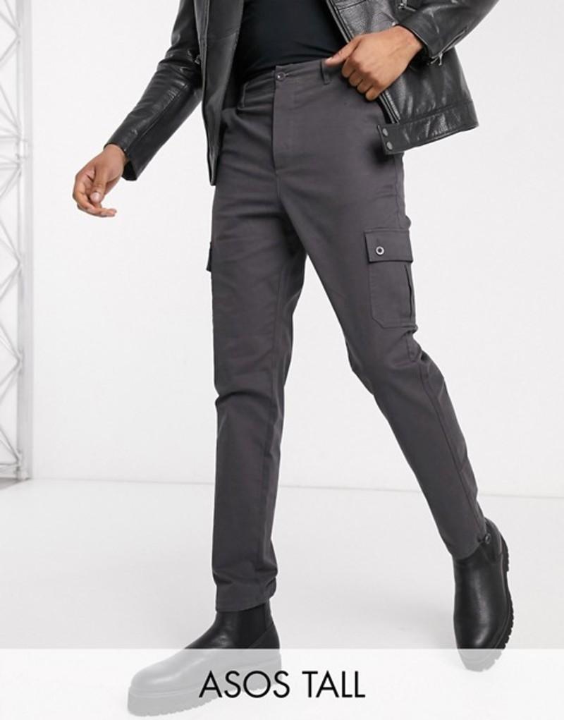 エイソス メンズ カジュアルパンツ ボトムス ASOS DESIGN Tall tapered cargo pants with toggles in washed black Washed black