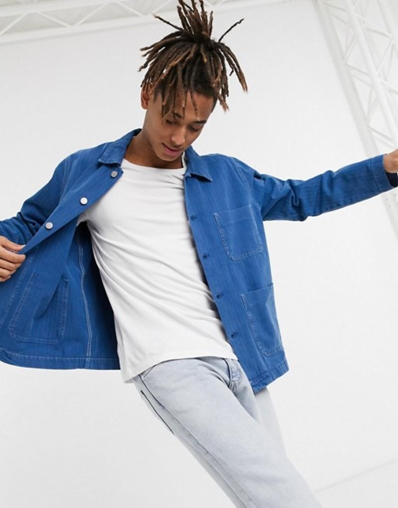 ウィークデイ メンズ ジャケット・ブルゾン アウター Weekday Generic jacket with pockets in blue Blue medium dusty