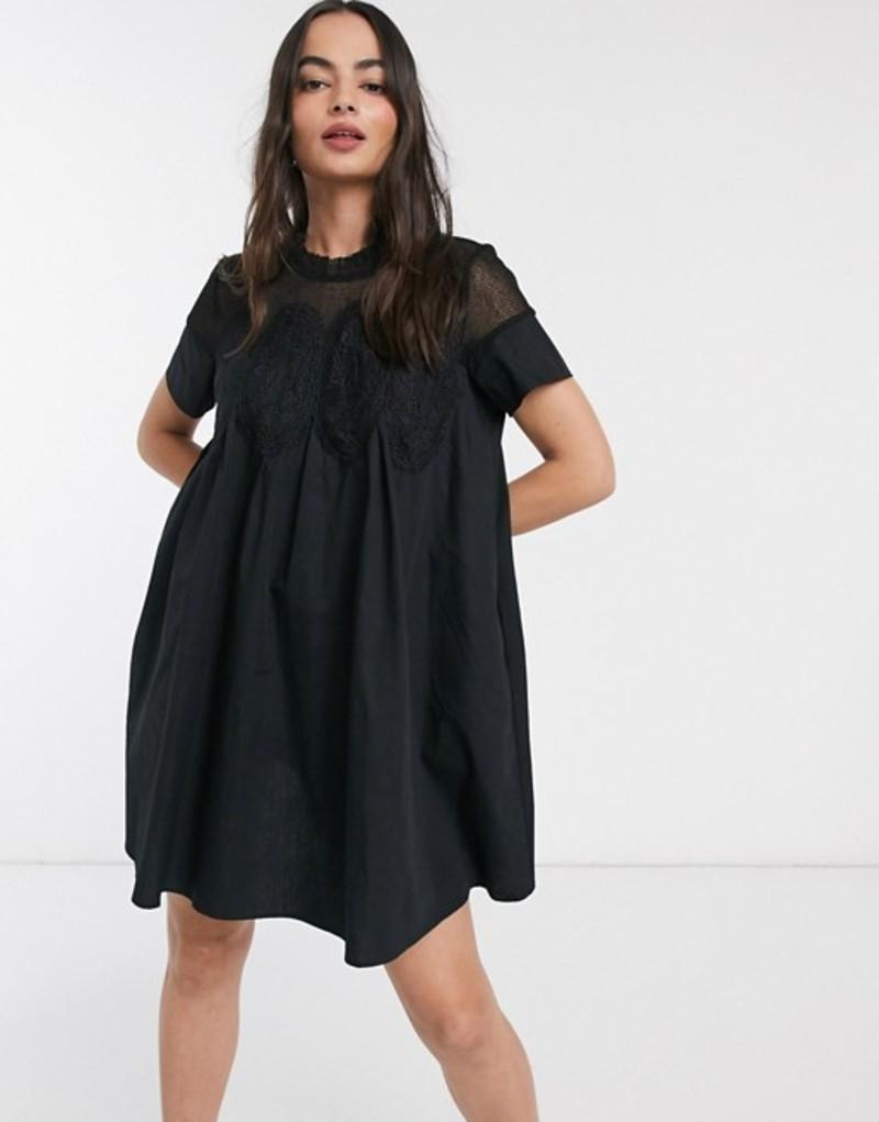 ワイエーエス レディース ワンピース トップス Y.A.S Jarita short sleeve smock dress Black