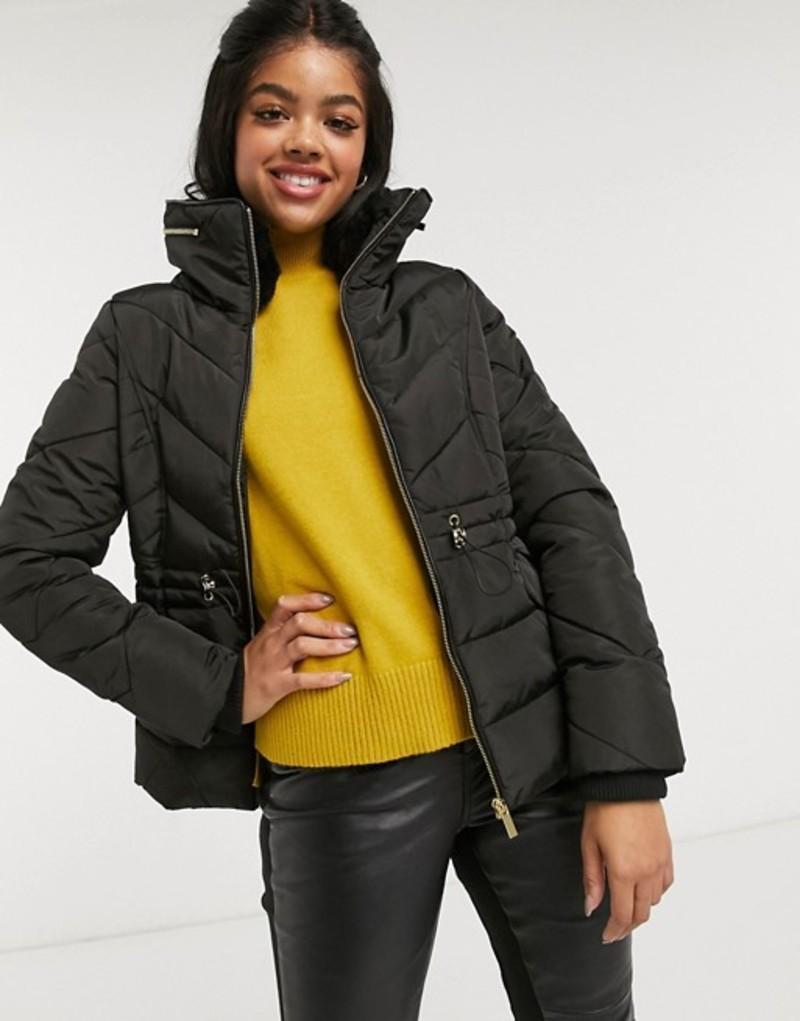 オアシス レディース コート アウター Oasis belted padded jacket in black Black