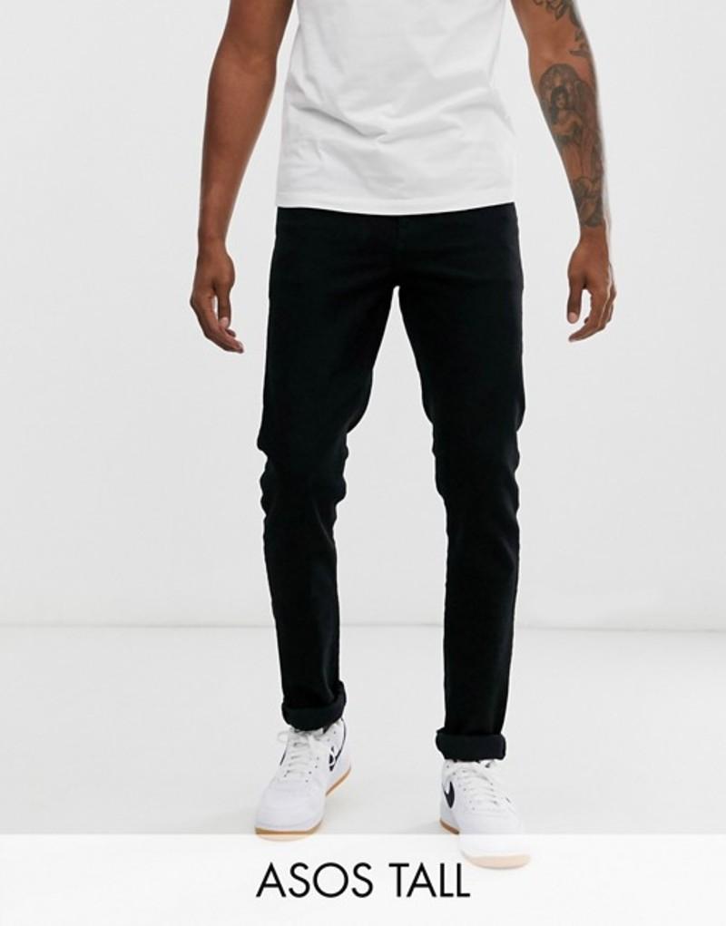 エイソス メンズ デニムパンツ ボトムス ASOS DESIGN Tall slim jeans in black Black