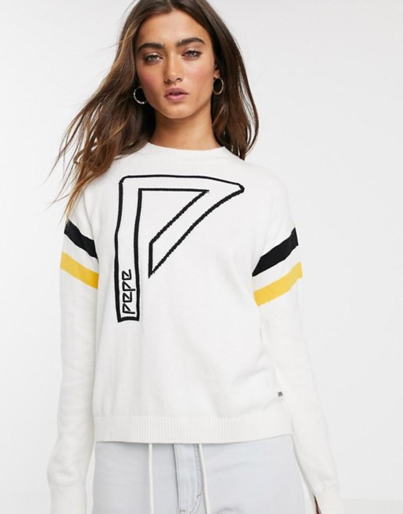 ペペジーンズ レディース ニット・セーター アウター Pepe Jeans Ada logo sports stripe wool blend sweater Mousse
