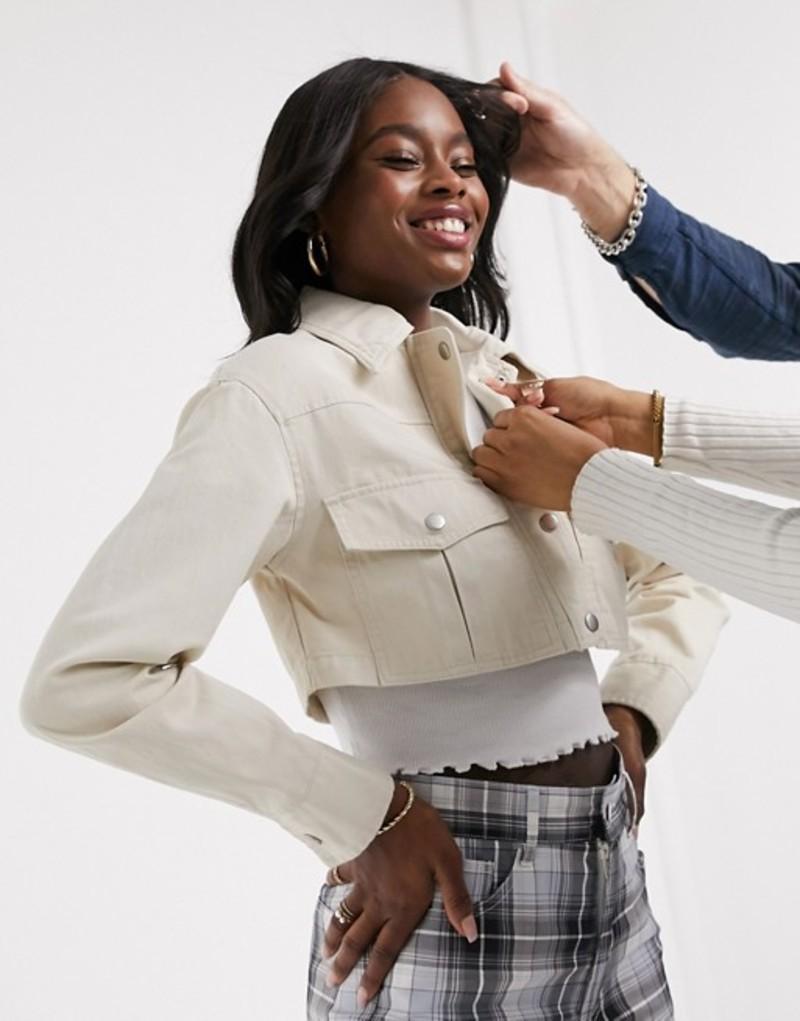 エイソス レディース ジャケット・ブルゾン アウター ASOS DESIGN super crop twill jacket in cream Cream