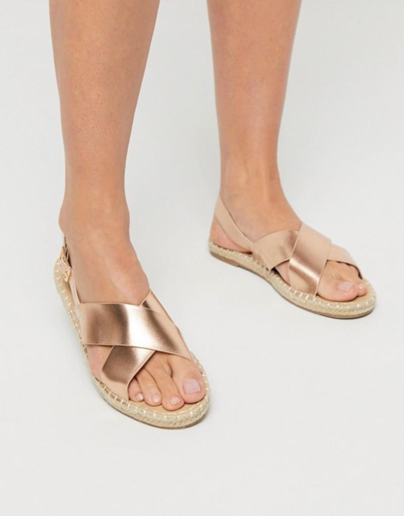 トリュフコレクション レディース サンダル シューズ Truffle Collection cross strap espadrille sandals in gold Gold