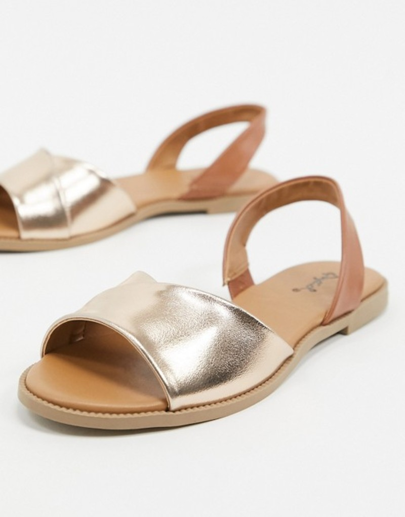 キューピッド レディース サンダル シューズ Qupid slingback flat sandals in rose gold Rose gold/tan