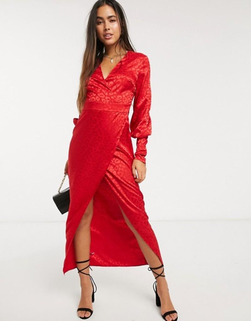 リクオリッシュ レディース ワンピース トップス Liquorish wrap front maxi dress in red leopard jaquard Red