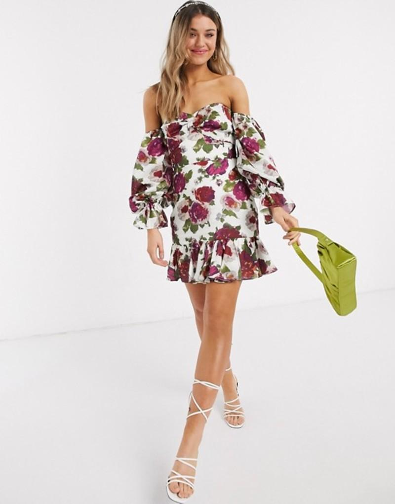 テルーラ レディース ワンピース トップス Talulah exclusive envision floral off shoulder mini dress in white bloom White bloom