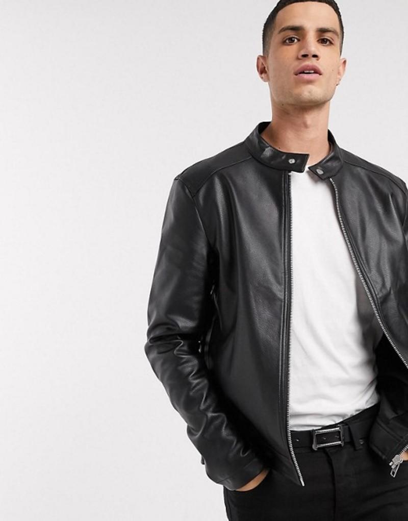 エイソス メンズ ジャケット・ブルゾン アウター ASOS DESIGN faux leather racer jacket in black Black