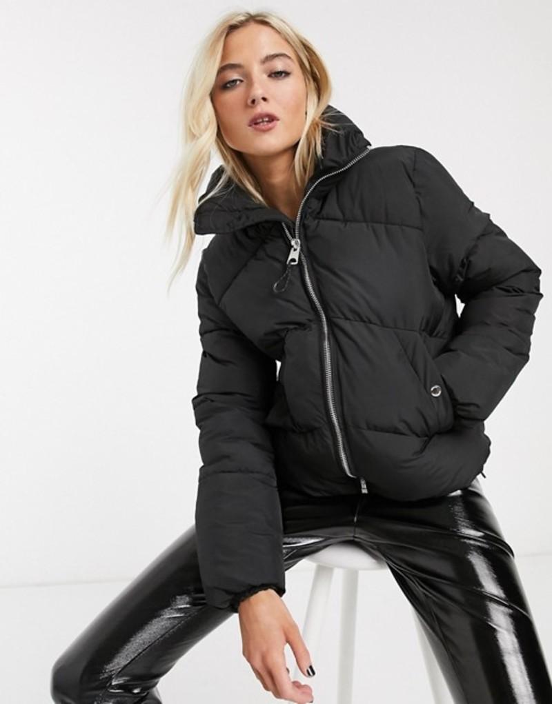 ベルシュカ レディース コート アウター Bershka puffer coat in black Black