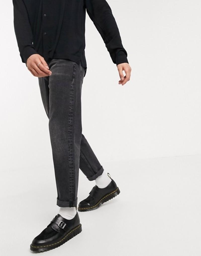 エイソス メンズ デニムパンツ ボトムス ASOS DESIGN straight crop jeans in washed black Washed black