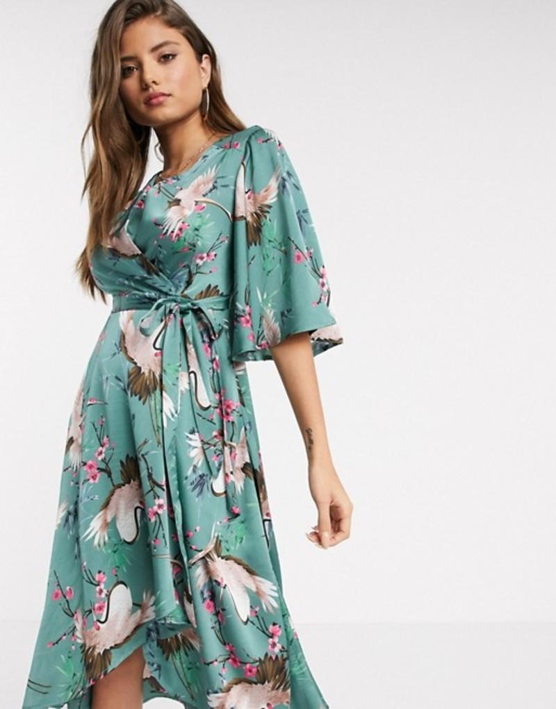 リクオリッシュ レディース ワンピース トップス Liquorish midi wrap dress with waterfall sleeves in bird and floral print Green