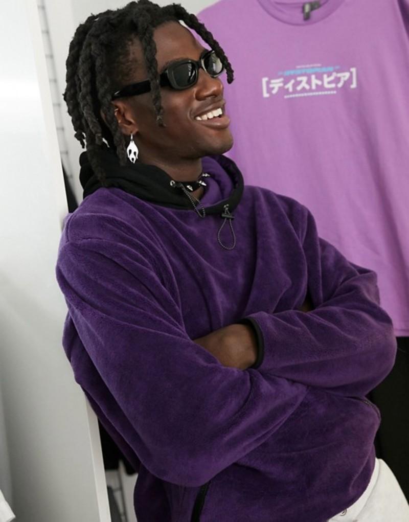 エイソス メンズ パーカー・スウェット アウター ASOS DESIGN oversized super soft fleece hoodie in bright purple with nylon hood Petunia
