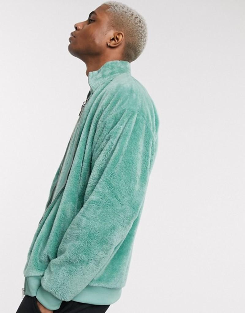 エイソス メンズ ジャケット・ブルゾン アウター ASOS DESIGN oversized teddy fleece track jacket in mid green Granite green