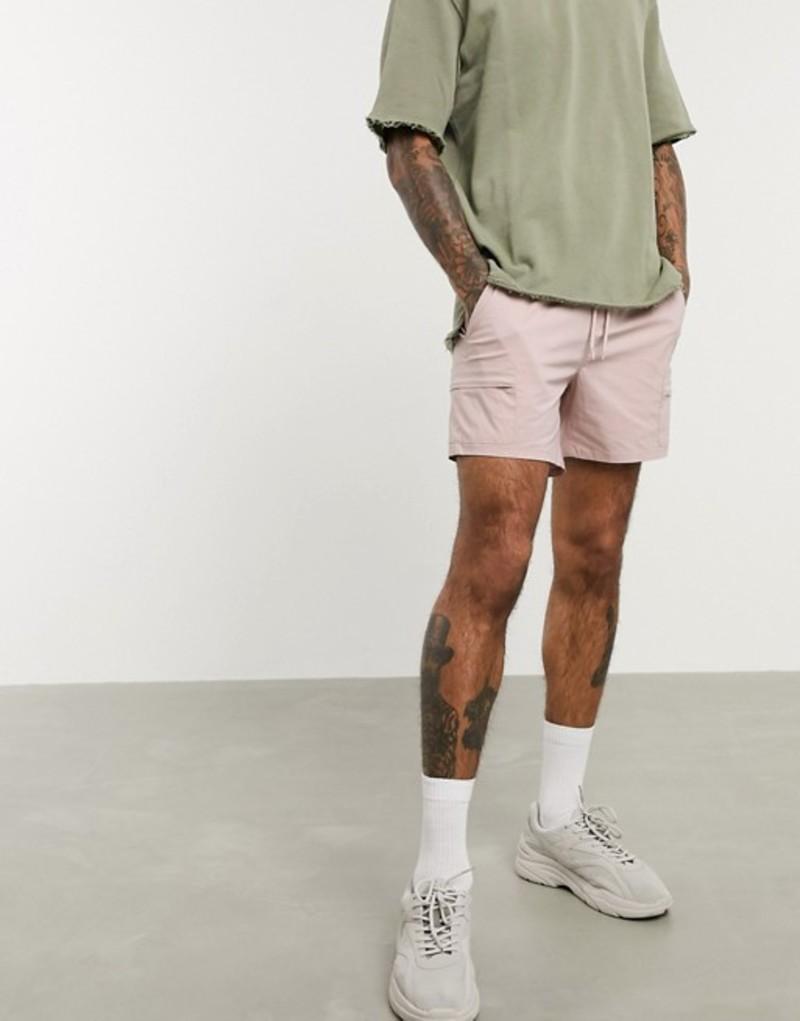 エイソス メンズ ハーフパンツ・ショーツ ボトムス ASOS DESIGN nylon cargo shorts in pink Blush