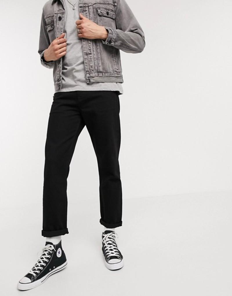 エイソス メンズ デニムパンツ ボトムス ASOS DESIGN straight crop jeans in clean black Black