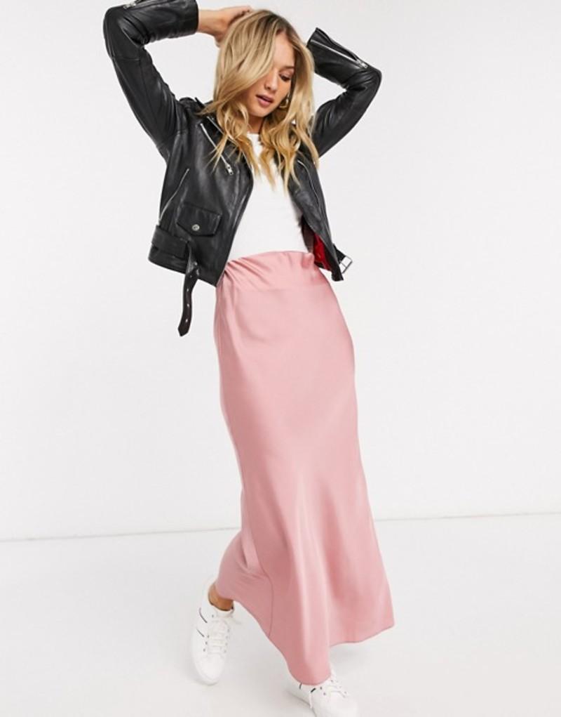 エイソス レディース スカート ボトムス ASOS DESIGN satin bias maxi skirt in pink Pink