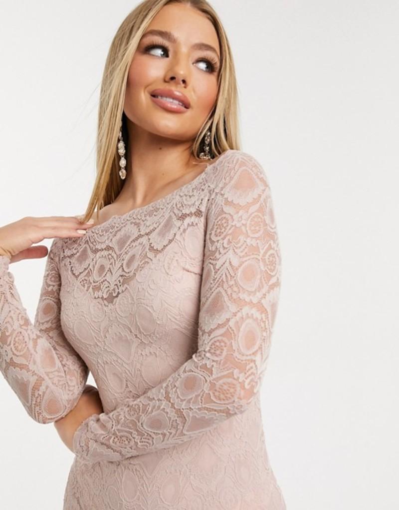 アックスパリ レディース ワンピース トップス AX Paris lace bardot midi dress in light pink Mushroom