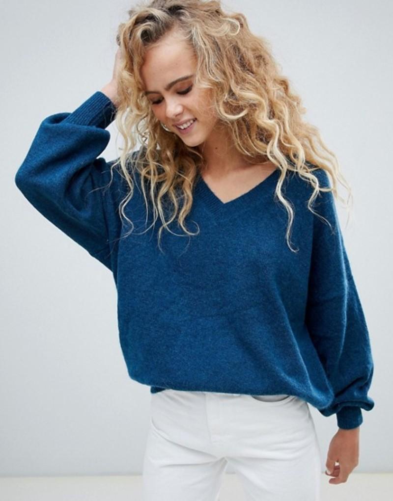 ウィークデイ レディース ニット・セーター アウター Weekday v neck oversized sweater in petrol blue Petrol blue