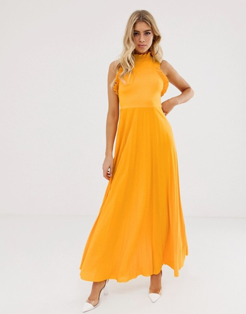 エイソス レディース ワンピース トップス ASOS DESIGN high neck pleated maxi dress with ruffle detail Yellow saffron