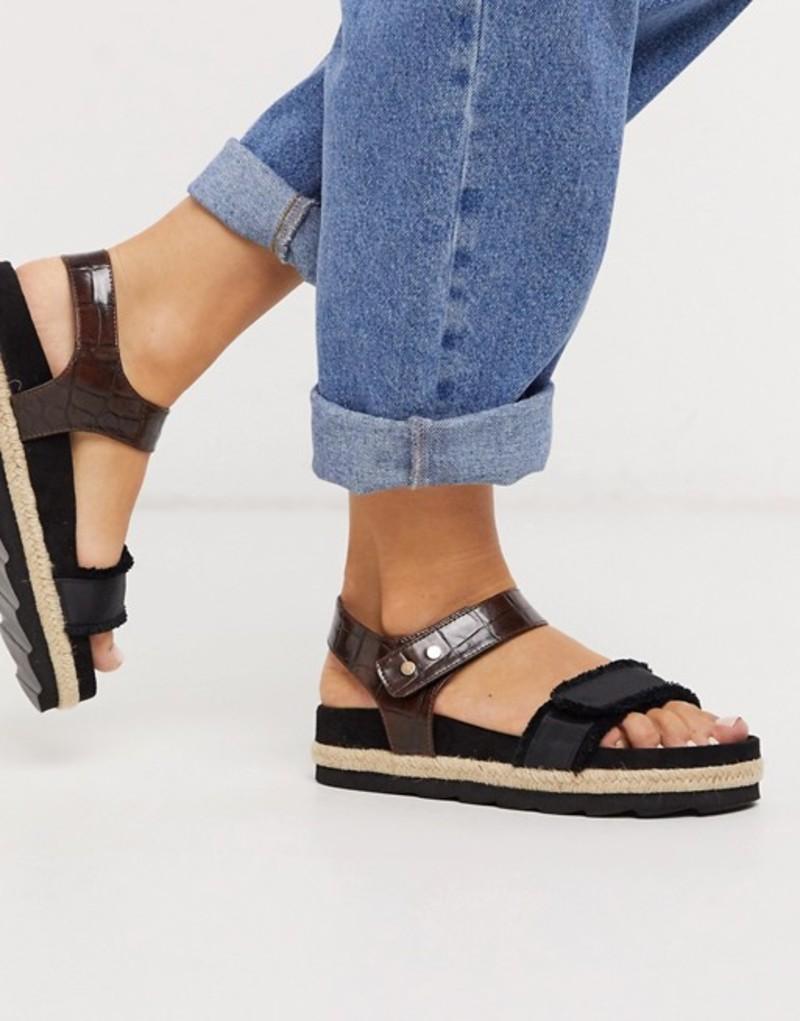 エイソス レディース サンダル シューズ ASOS DESIGN Jitter chunky sporty espadrille sandals in black Black/croc
