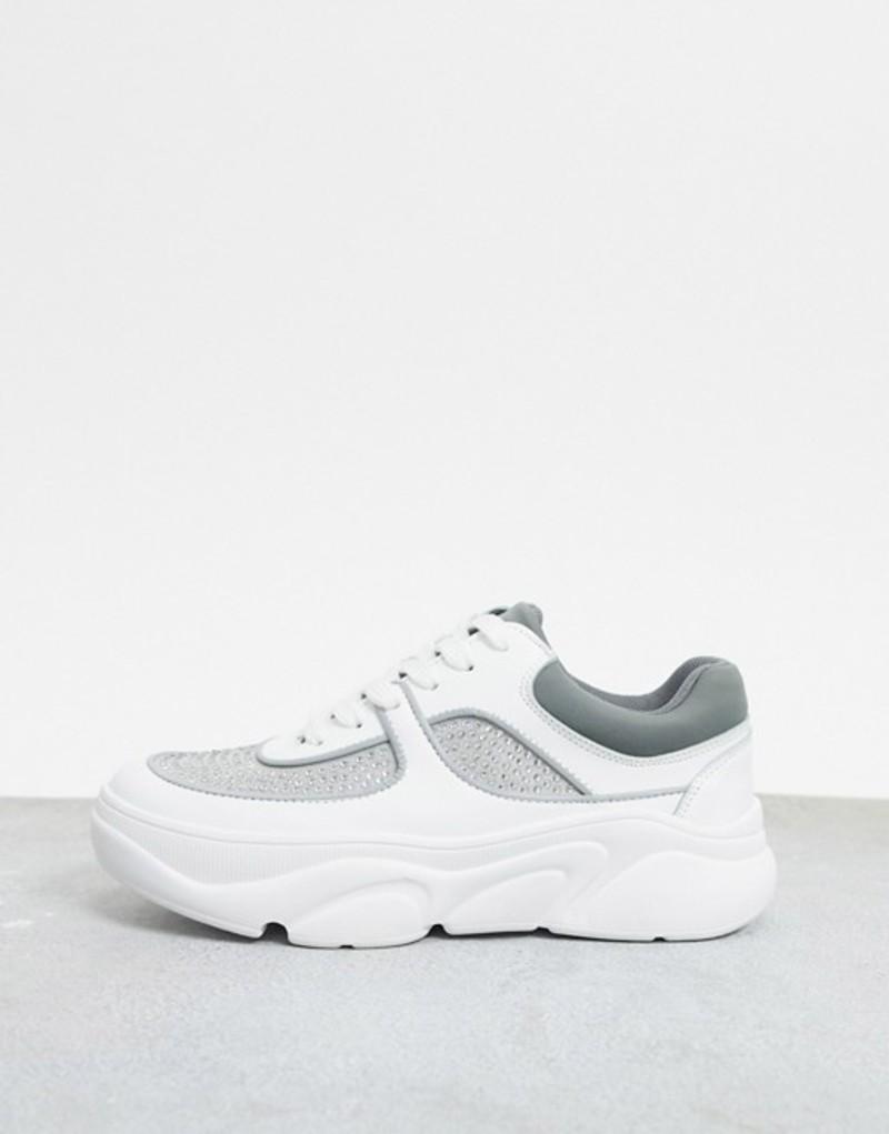 エイソス レディース スニーカー シューズ ASOS DESIGN Dollie embellished chunky sneakers in white and gray White/gray