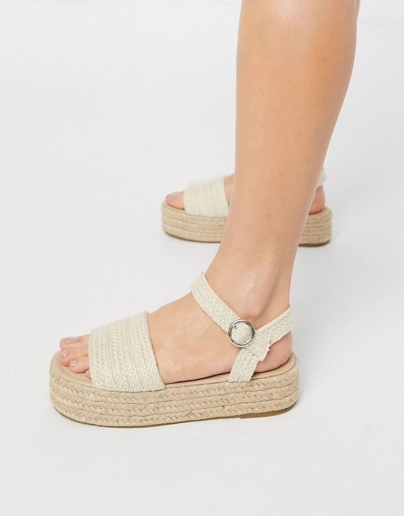 サウスビーチ レディース サンダル シューズ South Beach flatform espadrille sandals in woven Woven