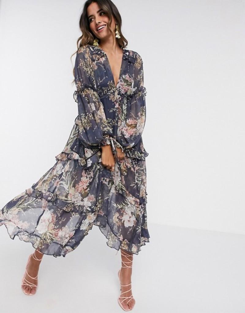 エイソス レディース ワンピース トップス ASOS DESIGN ruched tiered midi dress in navy floral print with lace trim Navy floral