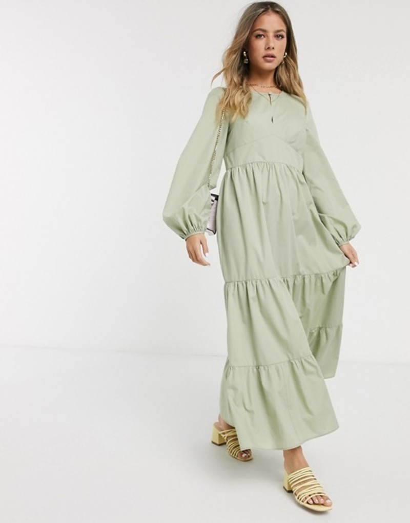 エイソス レディース ワンピース トップス ASOS DESIGN cotton poplin tiered maxi dress with long sleeves in khaki Pale khaki