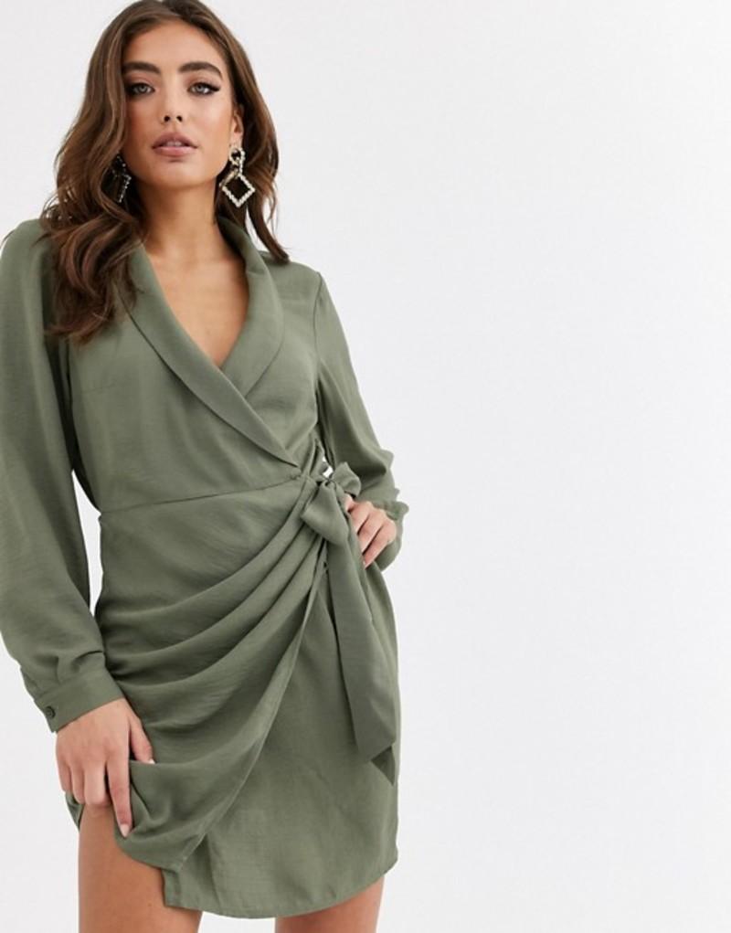エイソス レディース ワンピース トップス ASOS DESIGN collared wrap mini dress in khaki Pale khaki
