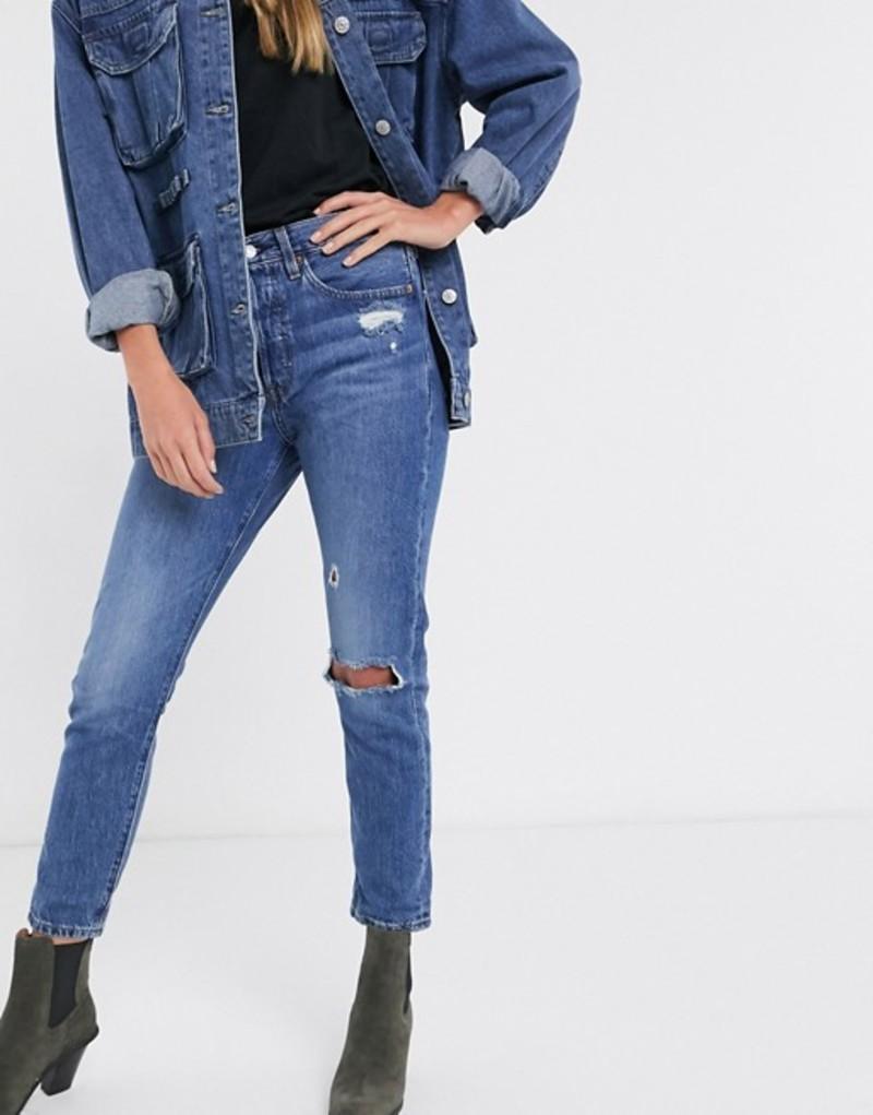 リーバイス レディース デニムパンツ ボトムス Levi's 501 high rise skinny jeans with rip in mid wash blue Blue