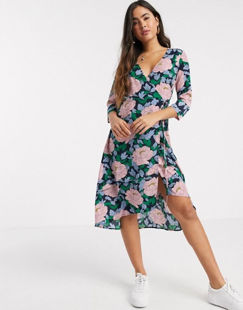 リクオリッシュ レディース ワンピース トップス Liquorish wrap front midi dress in oversized floral print Blue pink