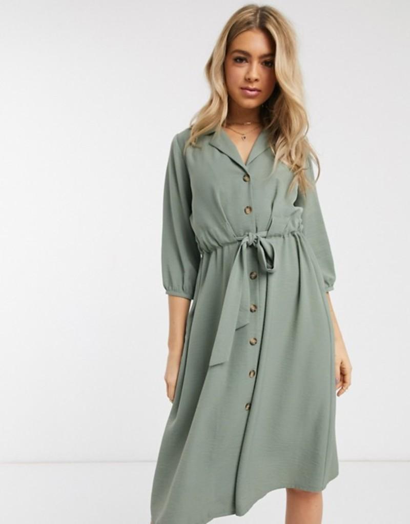 エイソス レディース ワンピース トップス ASOS DESIGN button through midi shirt dress with ruched waist in khaki Khaki