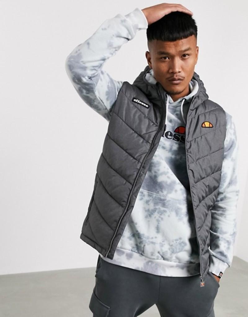 エレッセ メンズ タンクトップ トップス ellesse Zullo recycled vest in gray Charcoal marl