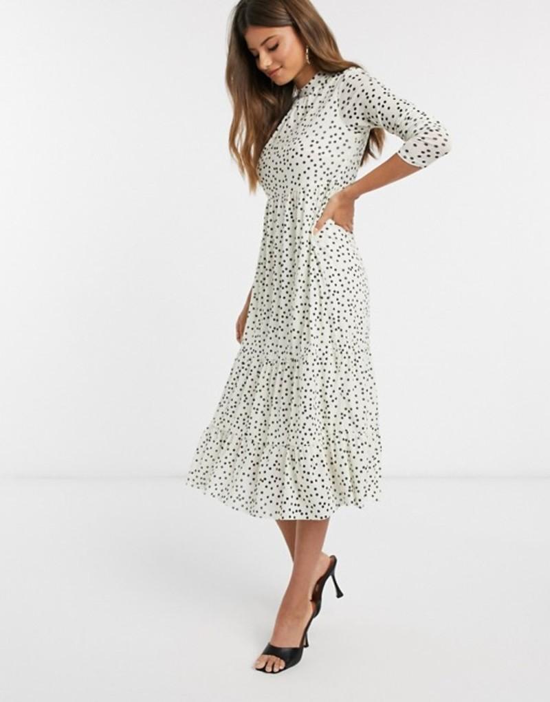 ウエアハウス レディース ワンピース トップス Warehouse polka dot tiered midi dress in white Ecru
