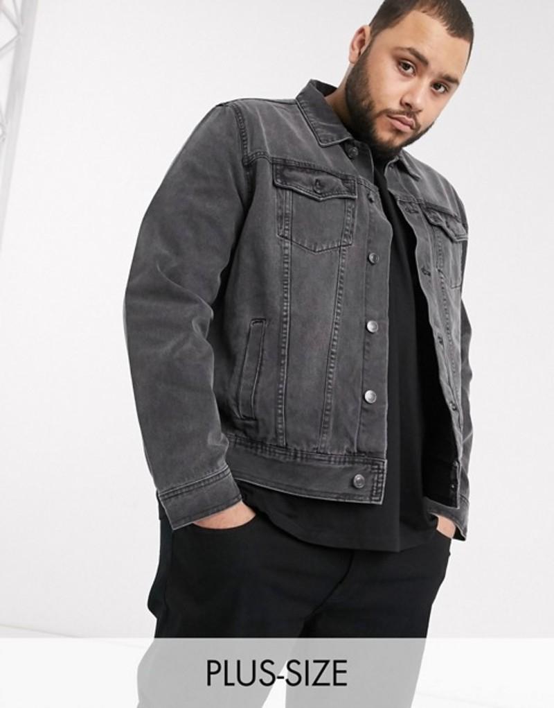 ニュールック メンズ ジャケット・ブルゾン アウター New Look Plus denim jacket in gray wash Mid gray