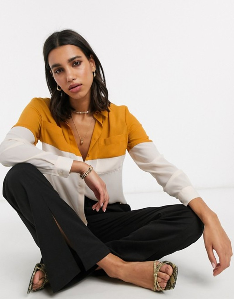 エイソス レディース シャツ トップス ASOS DESIGN long sleeve color block shirt in multi Multi