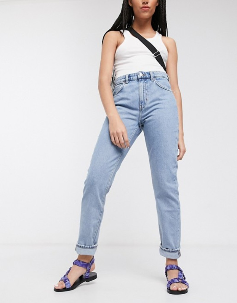 ウィークデイ レディース デニムパンツ ボトムス Weekday Seattle organic cotton high waist tapered jeans in pen blue Pen blue