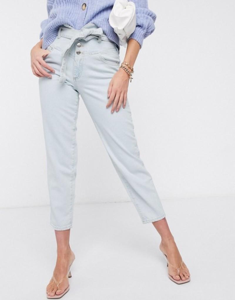 リバーアイランド レディース デニムパンツ ボトムス River Island high rise tapered belted jeans with western seam in light blue Light wash