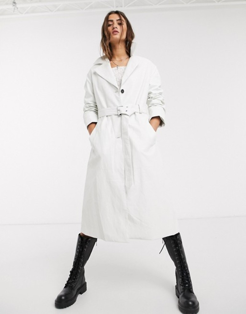 ベルシュカ レディース コート アウター Bershka oversized trench coat in white White